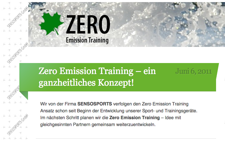 Zero Emission Training seit 2011